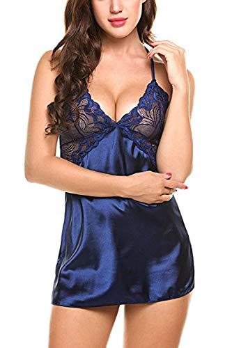 Fun-Unterwäsche Erotische Baby Dolls & Negligees Sexy Dessous Plus Size Sexy Strap Spitze Versuchung Rock@Blue_XXL - 4