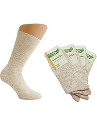 6 Paar Damen Natura Bio Socken mit Bio Baumwolle und Leinen-Socken mit Muster