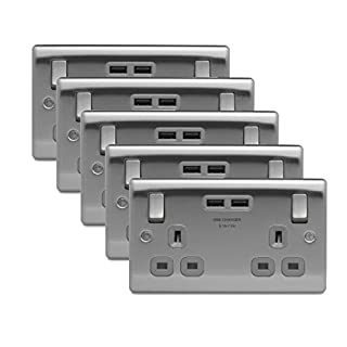 5 x BG NBS22U3G Twin 13A Switch Socket with USB Outlets (Brushed Steel / Satin Chrome)