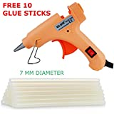 Glun 20-Watt 7MM Hot Melt Glue Gun with 10 Transparent Glue Sticks