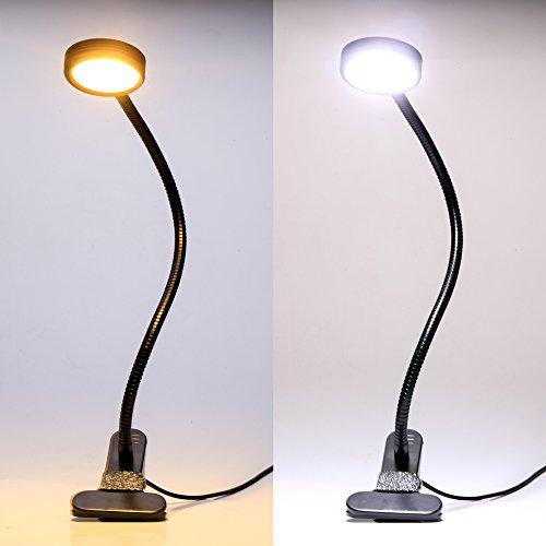 5W USB Klemmleuchte für Kinder, LED Schreibtischlampe USB Buchlampe, 2 Helligkeitsstufen, Flexibel Leselampe für Schlafzimmer Büro, mit 1.5m USB Kabel (Schwarz)