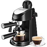 Aicook Cafetiere Expresso, Machine à Café 800W, Machine à Cappuccino et Machine à Expresso, Evaporateur de Lait, 5 Bar, 4 tasses, Noir