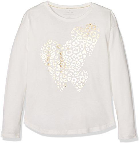NAME IT Mädchen T-Shirt Nitjulle LS Oversize Top Box Nmt, Weiß (Snow White), 146 (Herstellergröße: 146-152) (Shirt Mädchen Schickes)