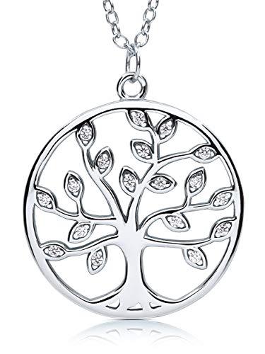 VIASOUL® Halskette für Damen I Tree of Life aus 925er Silber mit 585er Gold überzogen I Der Original Lebensbaum (Silber)
