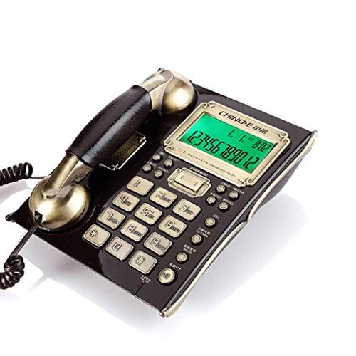 YuanElectronic Schnur Telefon Europäische Antike Retro Festnetztelefon Festnetztelefonbüro Festes Telefon Anrufer ID Kabelsitz Festes Telefon-Schwarz Nussbaum (Mit Anrufer-id Telefone)