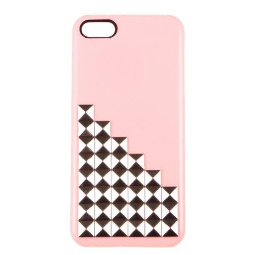 Con borchie piramidali custodia rigida Cover Custodia per iPhone 5/5S (Silver + chiodi rosa)