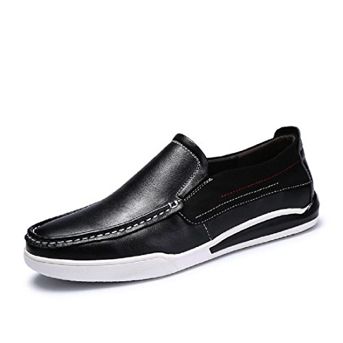 Mode Hommes Soft Button Loisirs Chaussures En Cuir Ballerines Non-slip Casual Chaussures Euro Taille 37-44 Noir