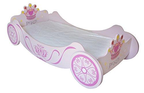(Kiddi Style Prinzessin Bett & Prinzessinnen Kutschenbett in Rosa – Princess Kinderbett, Jugendbett & Spielbett für Mädchen – 140 cm x 70 cm)