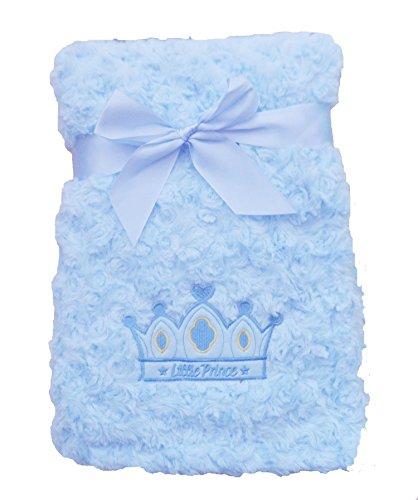 Supersoft superior lujo azul Swirl peluche Príncipe corona Pram/cuna manta