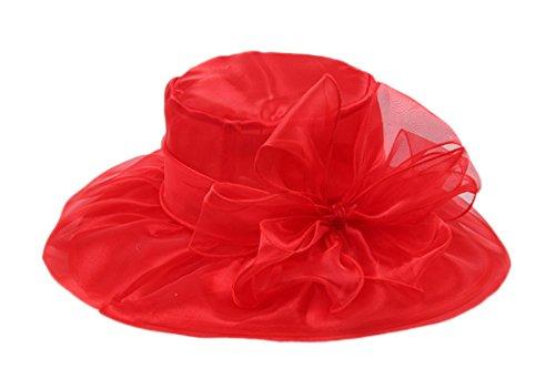 Dantiya - Chapeau bibi mariage Femme Amovible Mousseline de soie Elégante Rouge