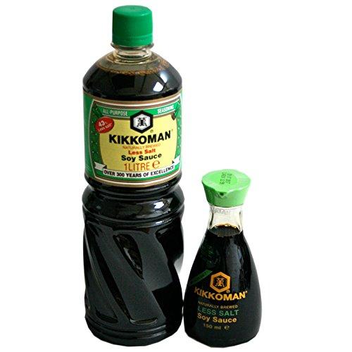 Sojasauce Kikkoman 43%weniger Salz 1Liter + 150ml Tischflasche