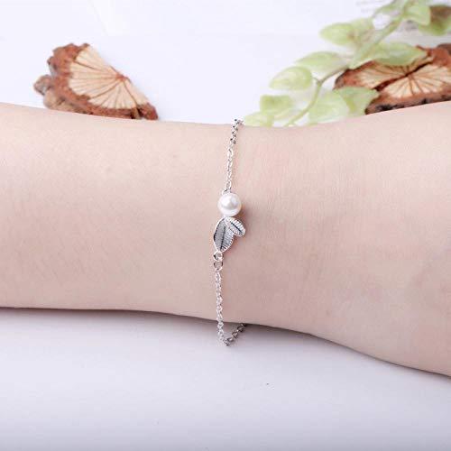 Kostüm Stapel Blätter - APPWLING Sterling Silber vergoldet S925 Sterling Silber kleine Blätter Perlenarmband