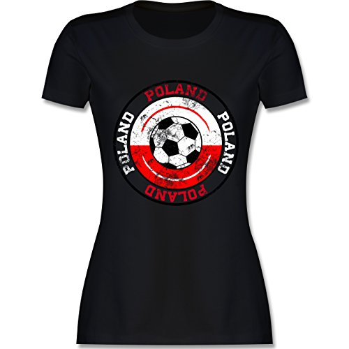EM 2016 - Frankreich - Poland Kreis & Fußball Vintage - tailliertes Premium T-Shirt mit Rundhalsausschnitt für Damen Schwarz