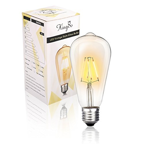 KINGSO LED Edison Retro Glühbirne 4W E27 Birne 4 hartes Faden Filament ST64 Vintage Eichhörnchen Käfig Glühbirnen Beleuchtung Warmweiß Dimmbare 220V 1 Pack -