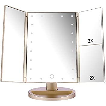 Deweisn Tri Fold Lighted Vanity Makeup Mirror With 3x 2x