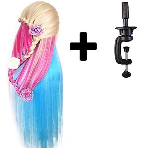 Tête à coiffer de cosmétologie 60 cm, cheveux 100% synthétiques couleur arc-en-ciel, pour apprentissage de coiffeur. Tête à coiffer avec serre-joint pour table et mini-brosse démêlante (série