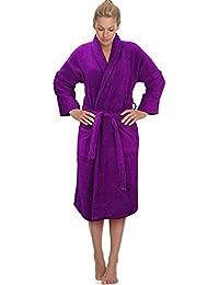 Aubergine / Purple 100% Cotton Terry Towelling Bathrobe Bath Robe + Matching Belt - MEDIUM