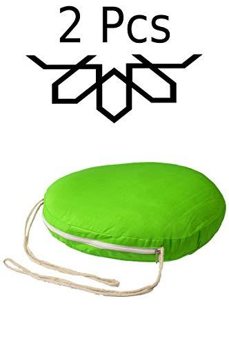 2 er Set Sitzkissen Stuhlkissen mit Schleife 45cm Groß Rund Grün | Outdoor im Garten als Stuhlauflage oder Indoor als Stuhl Kissen im Wohnzimmer oder Küche | Rundes Bodenkissen aus Baumwolle 45 x 45 cm -
