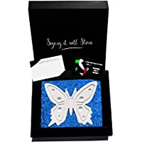 Stone Butterfly Handmade in Italy - Contains Fossil Fragments - Symbol of Hope, Life, Change, Good Luck, Elegance & Endurance - Gift Box & Blank Message Card Incl - Birthday Retirement Get Well Soon