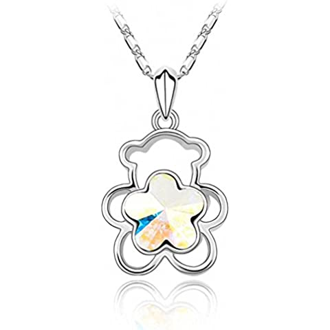 TAOTAOHAS cristallo ciondoli breve collane [ orsacchiotto di peluche], 18KGP Rhinestone - Aurora Collana