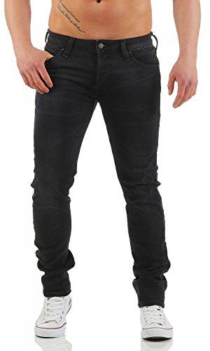 JACK & JONES - GLENN DASH INDIGO - Slim Fit - Herren Jeans Hose , Farbe:Schwarz (GE100);Hosengröße:W36/L32 (Indigo Jeans Denim Herren-slim-fit)