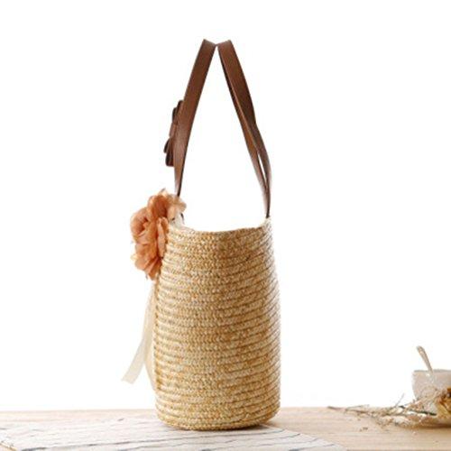 YOUJIA Fiore Handbags Spiaggia Vacanza Paglia Borsa Borsa A Tracolla Colori Primari