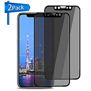 Privacy Screen Protector for iPhone X, ANYOYO 2 Packs Tempered Glass Screen Protector Premium Anti-Spy/Fingerprint/Scratch 3D Full Coverage Screen Protectors - Black [Easy Install]