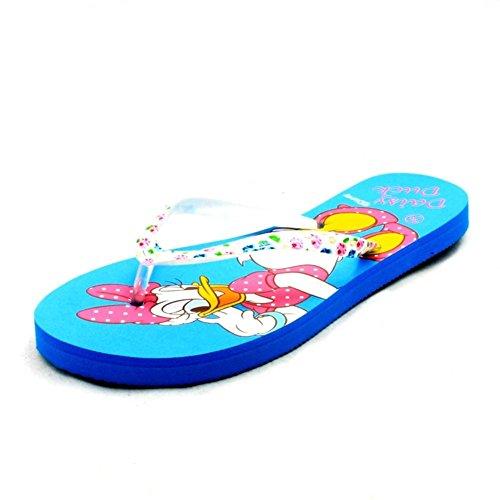 sendit4me Ladies - Minnie Mouse Ou Daisy Duck Detail Flip Flop Sandals blue