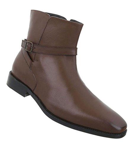 Herren Schuhe Boots Used Optik Leder Braun