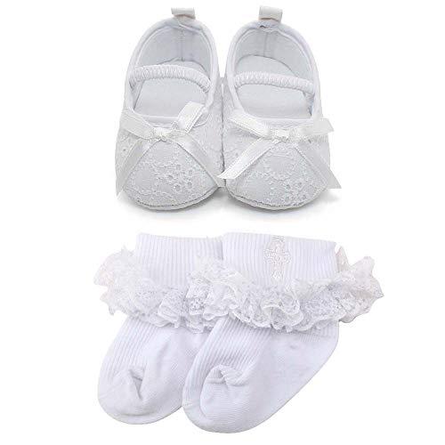 OOSAKU Baby Mädchen Kleinkind Säuglings Spitze Floral Bowknot Weiß Taufe Schuhe rutschfeste Mary Jane Dance Ballerina Hausschuhe, Schuhe & Socken1, 0-3 Monate