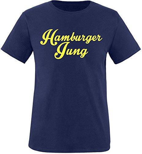 EZYshirt® Hamburger Jung Herren Rundhals T-Shirt Navy/Gelb