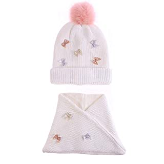 Girl's Cable Knit Hat Scarf Set Stylish Bowknot Kids Infinity Scarves Children Pink Fur Pom Beanie Hats