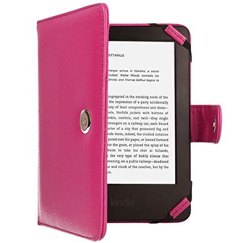 TECHGEAR Hülle für Amazon Kindle eReader, Kindle Paperwhite - Folio-Hülle aus PU-Leder mit Magnetverschluss passt Kindle eReader (6,0 Zoll) [4 bis 9 alle Generationen] Case mit Bildschirmschutz -Rosa - Eink-cover Kindle