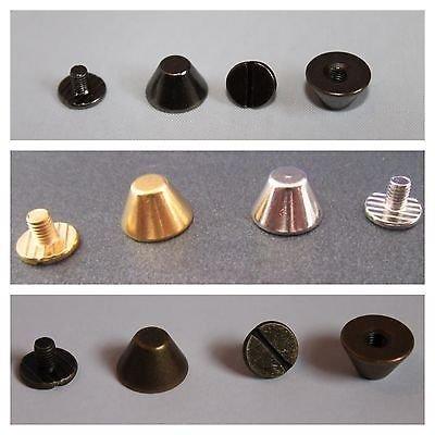 50 Pezzi di Secchio Fungo Spike Screwbacks, 10mm x 6mm - realizzato in solido ottone - Disponibile Argento/Nickel, Oro, Bronzi, e Piombo Colori - Accessori per Abbigliamento, Giacche, Jeans, Sacchetti - Bronzo, 10mm x 6mm