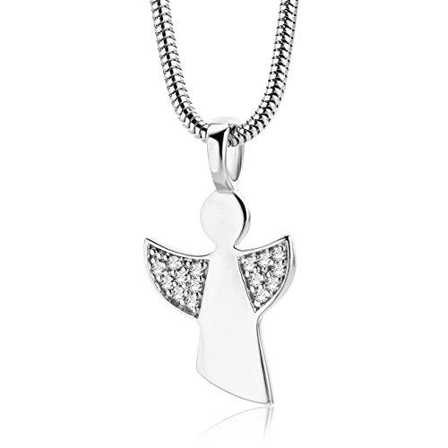 Miore Kette - Halskette Damen Kette Silberfarbig 925 Sterling Silber mit Engel mit Rundschliff Zirkonia Steinchen 45 cm