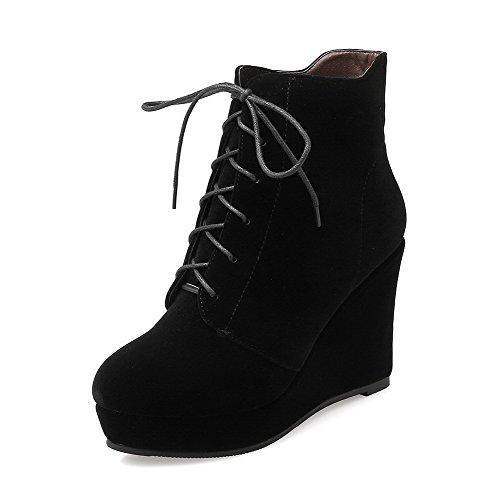AllhqFashion Damen Schnüren Rund Zehe Hoher Absatz Niedrig-Spitze Stiefel mit Knoten, Rot, 35