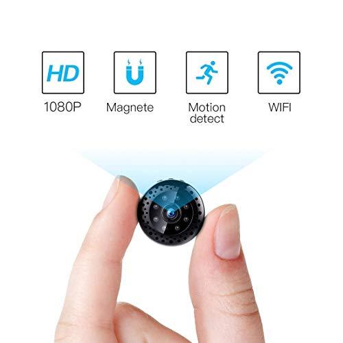 Nachtsicht Mini Kamera WLAN WiFi 1080p,FREDI 4k überwachungskamera App Fernbedienung Mini Bluetooth Cam P2P Mikrofon übertragung mit akku