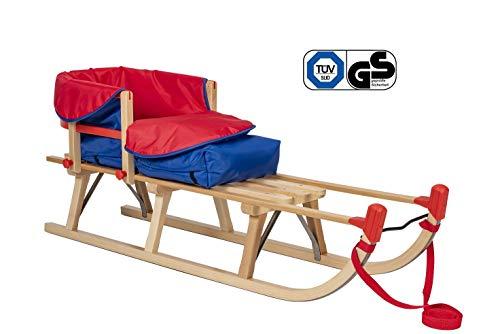 Impag® Klassischer Davos-Schlitten Rodel | 100-125 cm lang | stabiles Buchenholz | belastbar bis 110 kg | mit Zuggurt und Sicherheits-Rückenlehne | inkl. Fußsack| TÜV geprüft