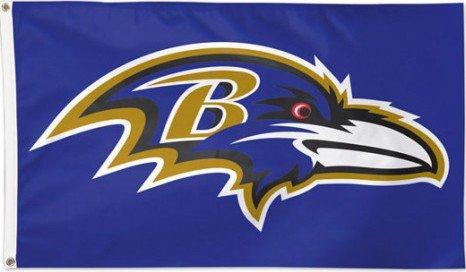 Flagge NFL Baltimore Ravens - 90 x 150 cm, + gratis Aufkleber, Flaggenfritze® (Baltimore Ravens-aufkleber)