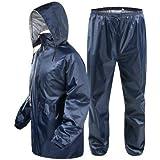 V3E Women's Bike/Scooter Water Proof Blue Plain Rain Coat with Bag Medium (Blue)