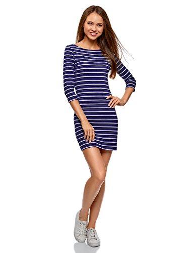 oodji Ultra Damen Jersey-Kleid Basic, Blau, DE 40 / EU 42 / L
