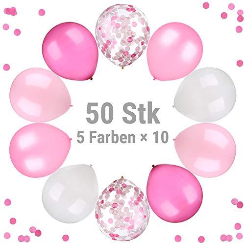 ecooe 50 Stück Perle Latex Luftballons 12 Zoll Konfetti Ballons 5 Farben Rosa Hellrosa Fuchsie Weiße Konfetti Ballons für Baby-Duschen, Hochzeiten, Geburtstage Party Dekorationen (Erinnerung Baby-dusche)