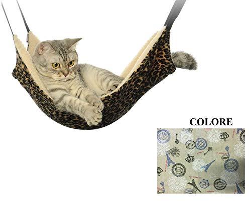 Ducomi sleepat - amaca gatto con morbido e caldo rivestimento - 53 x 35 cm - portata massima 12 kg - per gatti e piccoli roditori - facile installazione con 4 ganci (paris)