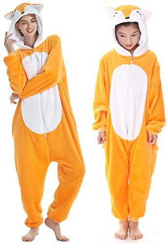 Adulto e bambino unisex unicorno tigre leone volpe tutina animale cosplay pigiama costume di carnevale di halloween fancy dress loungewear (fox, s altezza di 145-155 cm)