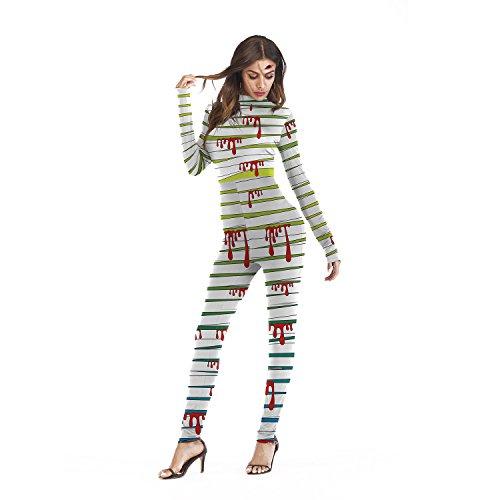 WEN-Kostüme Halloween Frauen Catsuit, Body mit Blutverband Langarm-Overall (größe : ()