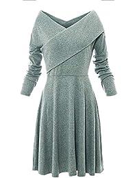 Primavera Otoño Midi Vestido de Suéter Mujeres Cuello V Manga Larga Jerséis Vestido Moda Plisado Vestidos