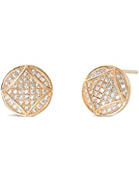 Rose Gold Plated Silver CZ Earrings - Fabulous Circle Rose Gold Plated Sterling Silver Earrings
