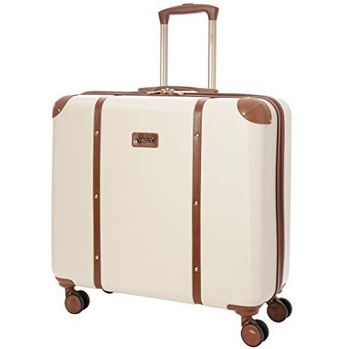 Aerolite Stilvoll Moderner Klassischer Retro Vintage Stil ABS Hartschalenkoffer Koffer Reisekoffer mit 4 Doppelspinnrädern, 58 cm (Cremefarben)