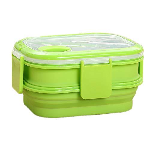 LSX Outdoor-Lunch Bento Box Food Storage Container mit Dichtkappe Doppel-Silikon-Faltmittel Erwachsene Wiederverwendbare Kinder-Mikrowelle und Geschirrspüler Safe,Green Green Food Storage