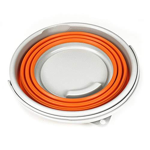 Outdoor Supplies Praktisch, multifunktional Größe 8,89 Zoll x 9,84 Zoll (grau) 5,10 l (2,64 Gallonen) Faltbarer runder Plastikeimer, (Farbe : Orange(10L)) - Auto Waschen Gallone